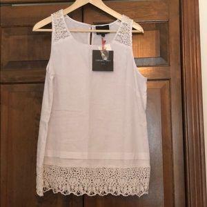 Cynthia Rowley White Sleeveless Shirt with lace